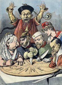 Френски вестник показващ Китай като политически пай разделен между Великите сили-2