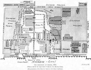 Карта указваща къде са разположени европейските дипломати по време на обсадата на града
